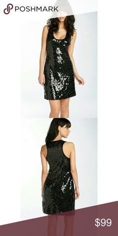 CALVIN KLEIN Sequin Party Black Sheath Dress New! Shimmer! in this lovely sequin dress by CALVIN KLEIN. Great for a night out on the town!  Features allover shimmering black sequins Features racerback neckline at back and deep scoop neckline at front Lined. Sleeveless. Pullover style Length: Approximately 35-1/2 inches from shoulder to hem Dry Clean. Polyester Original Retail Price is $174.00  Length: Approximately 35-1/2 inches from shoulder to hem Calvin Klein  Dresses