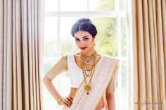 Contemporary Tamil Bridal Style with kundan jewellery. Fashion shoot for Mayil Creations.
