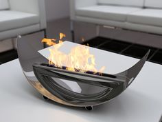 Extravagant Modern Style Tabletop Portable Fireplace Design Ideas with Grey Color Decoration in Futuristic Living Room