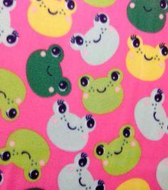 Blizzard Fleece Fabric- Fun Frogs 1