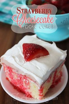 Easy and Delicious Strawberry Cheesecake Poke Cake - therezepte sites Strawberry Cheesecake Poke Cake Recipe, Strawberry Poke Cakes, Poke Cake Recipes, Strawberry Desserts, Dessert Recipes, Cheesecake Desserts, Dessert Ideas, Cake Ideas, Poke Recipe