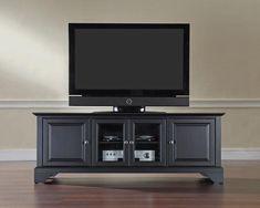 "Crosley Furniture KF10005BBK LaFayette 60"" Low Profile TV Stand in Black Finish"