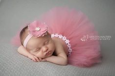 Dusty Rose Baby Girl Tutu Set with Lace Headband, Newborn Photography, Photo Prop, Baby Girls Accessories, Headband, Hair Accesseories by ChiCrystalsBoutique on Etsy