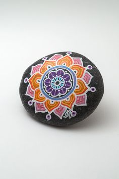 Design on both sides   Bright Multi-Colored Mandala Stone   Hand painted by Bijoux26Creations on etsy
