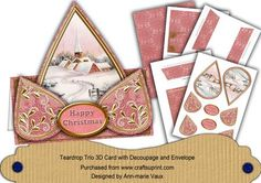 Pink Church Happy Christmas Teardrop Trio Kit on Craftsuprint - Add To Basket!