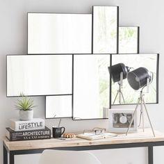Miroir en métal noir H 123 cm BROOKLYN