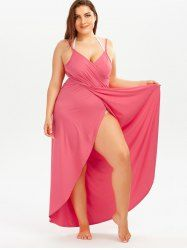 Plus Size Beach Wrap Cover Up Dress - WATERMELON RED 3XL Mobile