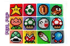 Mario coasters perler bead art - Videogame coasters by PerlPop