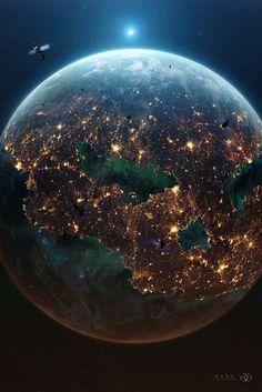 "coffeenuts: ""Ogre by GabrielGajdos "" - Universum Wallpaper Earth, Planets Wallpaper, Galaxy Wallpaper, Wallpaper Backgrounds, Wallpapers, Earth And Space, Planet Earth From Space, Space Planets, Space And Astronomy"