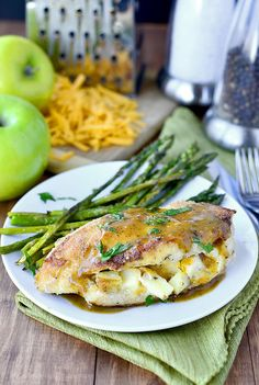 Apple-Cheddar Stuffed Chicken with Apple-Dijon Pan Sauce is a delicious, gluten-free dinner recipe that comes together in minutes using fridge and pantry staples.  | iowagirleats.com