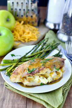 Apple Cheddar Stuffed Chicken with Apple Dijon Pan Sauce | iowagirleats.com