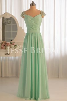 Simple Sage Chiffon Long Bridesmaid Dress  Evening by JesseBridal, $169.99