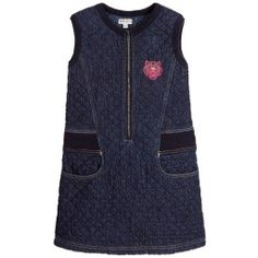 Navy blue dress by Kenzo, made in fabulous quilted denim in the designer's 'Jungle Vibes' theme. With cotton jersey ribbing around the neck, arms and waist, there is an exposed zip down the front and two front pockets. Panelled at the front and back, the designer's logo roaring tiger motif is on the chest in pink. Would look super with a bright pink jumper and pink boots.