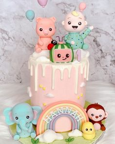 Planning 1st Birthday Party, 1st Birthday Party Decorations, Birthday Ideas, 2nd Birthday Party For Girl, Baby Girl Cakes, Themed Cakes, First Birthdays, Melon Cake, Fondant