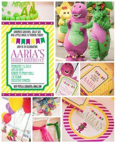 Customized Barney themed birthday