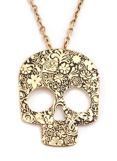 Dia de los muertos - Gold floral skull necklace