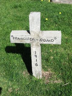 Gravestone for Francisca Romo (1916). Located at the Mission San Luis Rey #cemetery in Oceanside, California. Photo by Gena Philibert-Ortega