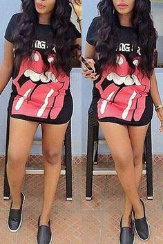 Fashion O Neck Short Sleeves Cartoon Patterned Black Cotton Blend Sheath Mini Dress