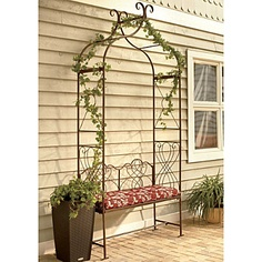 Metal Arched Arbor with Bench