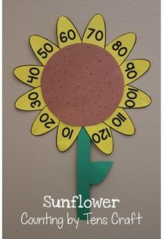 Sunflower Counting by Tens Craft - This is a fun Kansas Day craft activity! It has two options: Counting by to 100 or Counting By 10, Counting Activities, Learning Activities, Autism Classroom, Classroom Activities, Teaching Kindergarten, Student Teaching, Kansas Day, Sunflower Crafts