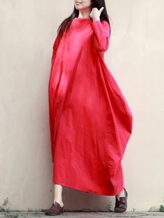 Sale 25% (47.79$) - Retro Women Boat Neck Pure Color Robe Maxi Dress