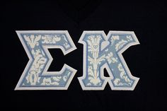 Sorority Greek Letters-Navy American Apparel V-Neck - Blue & White Damask Fabric - Sigma Kappa Letters