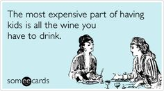 """Funny parenting meme- """"The most expensive part of having kids is all the wine you have to drink."""" SO TRUE"""