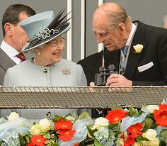 Prince Philip with smiling Queen at Epsom Derby