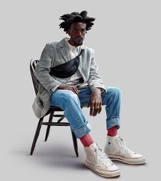 Style 58 by Daniel Clarke Sitting Pose Reference, Male Pose Reference, Fashion Model Poses, Sitting Poses, Character Poses, Black Characters, Male Poses, Foto Pose, Streetwear Fashion