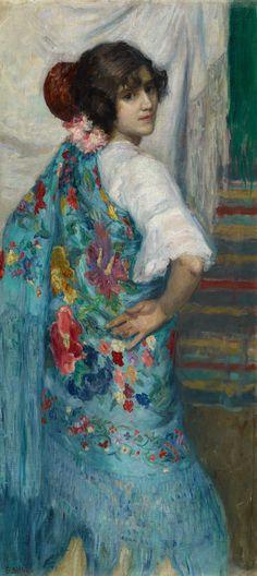 Gonzalo Bilbao. Una muchacha con mantón, c. 1910. Colección Carmen Thyssen-Bornemisza en préstamo gratuito al Museo Carmen Thyssen Málaga