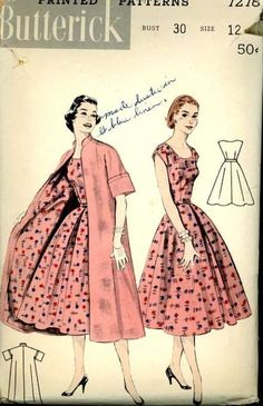 1950s Butterick 7278 Pattern Full Skirt Dress Matching Coat VGC Bust 30