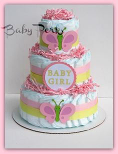 Butterfly Diaper Cake  Baby Shower  Butterfly Baby by MsPerks, $49.00