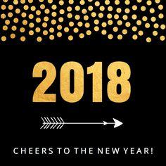 Nieuwjaarskaart confetti goud 2018 - LB, verkrijgbaar bij #kaartje2go voor € 1,99