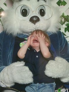 Child visits Easter Bunny, claws out own eyes. Film at 11.