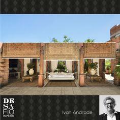 Ambiente Designer de Interiores Ivan Andrade para o Desafio Império Persa - Tapete Kirmanshah. #desafioimperiopersa Challenges, Carpet, Environment, Log Projects, Arquitetura, Persian, Interiors