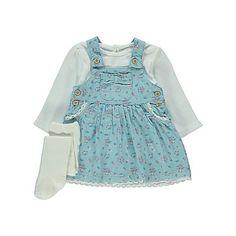 3 Piece Pinafore Dress, Top and Tights Set   Baby   George at ASDA