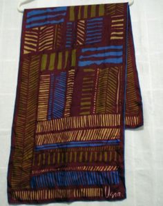 Vera large rectangle silk scarf tribal design rolled hem vintage ll2346