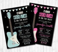 Guitar Baby Shower Invitation, Rock n Roll Baby Shower, Guitar Invite, Rock baby Shower Invite, Rock Star baby Shower, printable by funkymushrooms on Etsy https://www.etsy.com/listing/488722135/guitar-baby-shower-invitation-rock-n