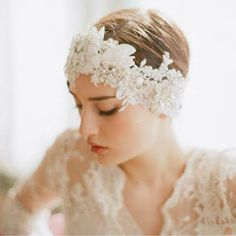 Pearl Diamond Lace Wedding Headpiece. I'd love it even more over a long hairdo with loose waves or finger curls.