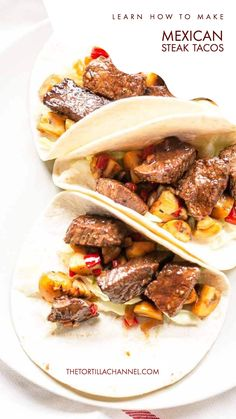 This taco recipe is the best. These Mexican steak tacos are made with soft tortillas and delicious steak bites seasoned with Mexican seasoning. This dinner is on the table in no time it is super fast and easy. Substitute the flour tortillas for corn tortillas and your dinner is gluten free. Want to try visit thetortillachannel.com for the full recipe #thetortillachannel #steaktacos #mexicansteaktacos #tacodinner #tacotuesday Corn Recipes, Steak Recipes, New Recipes, Mexican Steak Taco Recipe, Chicken Pork Recipe, Avocado Guacamole, Mexican Seasoning, Taco Ingredients, Taco Dinner