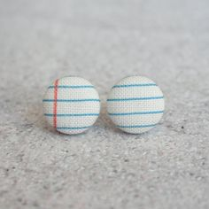 Notebook Fabric Covered Button Earrings by RachelOs on Etsy