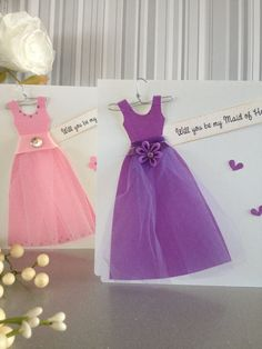Will you be my bridesmaid card. Maid of honor card. Dress shaped card. on Etsy, $5.00