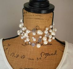 Like??? - 💟 a Pin! Thanks.👏👏👏👏 Pearl Statement Choker, Chunky Necklace, Bib Necklace, Collar Necklace - Designer Inspired!