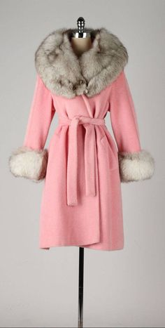 Vintage 1960's Lilli Ann Pink Wool Fox Fur Coat
