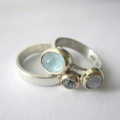 Silver, gold, aquamarine, moonstone & white topaz. www.CharlotteBezzant.com