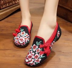 Womens Floral Embroidery Low Heels Shoes Round Toe Wedge Folk Style Fashion  F218 Black Wedge Shoes 16dcf47b8e57