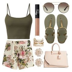 """""""Summer Days"""" by nenedopesauce ❤ liked on Polyvore featuring Havaianas, Prada, VILA, GUESS, Panacea, NARS Cosmetics and River Island"""