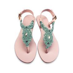 Aquamarin und Rosa Leder flache Sandale / Sommer Sandale / Thong-Sandalen / Sandalen flat / barfuss / Makramee-Sandalen