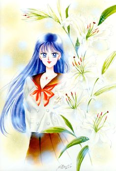 Rei Hino (Title Page from the Septumber, 1993 Issue of Run-Run); from Bishoujo Senshi Sailor Moon Original Picture Collection, Vol. II | art by Naoko Takeuchi