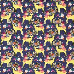 navy blue stag Michael Miller fabric Yes, Deer Rustique 3